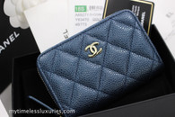 CHANEL 18S Pearly Dk Blue Caviar Zip Coin Purse/ Card Holder #25879247