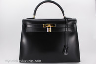 HERMES Kelly 32 Sellier Black Box Calfskin Gold Hardware with Strap