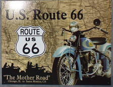U.S. Route 66 Indian Motorcycle The Mother Road Tin Sign photo