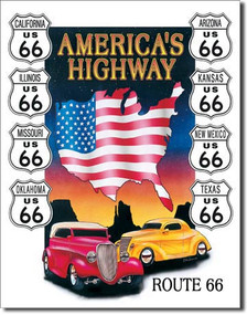 Route 66 America's Highway Tin Sign Art