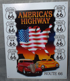 Route 66 America's Highway Tin Sign Photo