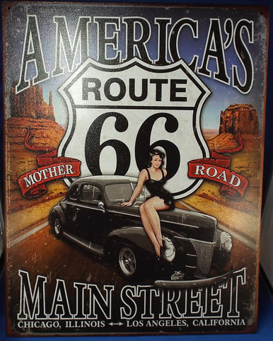Route 66 America's Main Street Tin Sign Photo