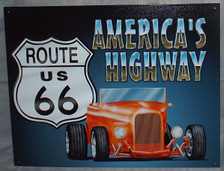 Route 66 Roadster Tin Sign photo