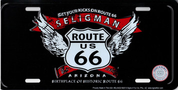 Seligman Arizona Route 66 Angel Wings License Plate