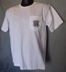 White Route 66 Pocket T-shirt front