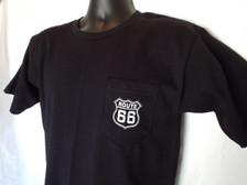 Black Pocket T-shirt with Route 66 shield on pocket