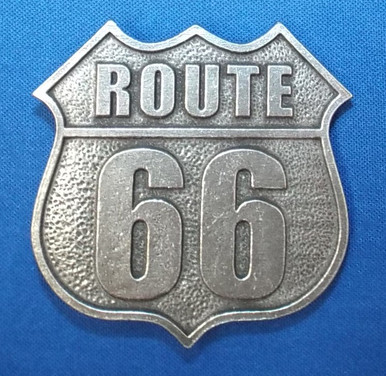 Pewter Route 66 Shield Belt Buckle (Made in the USA)