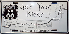 Get Your Kicks Route 66 Map License Plate