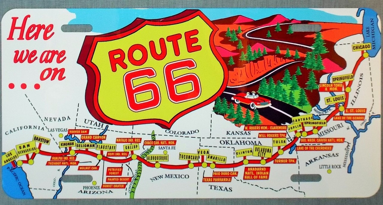 Route 66 Map Vintage Route 66 Map License Plate   Route 66 Gift Shop Route 66 Map