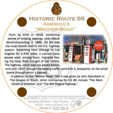 Back of Route 66 The Road Cork Coaster