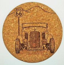 Hot Rod on Route 66 Cork Coaster