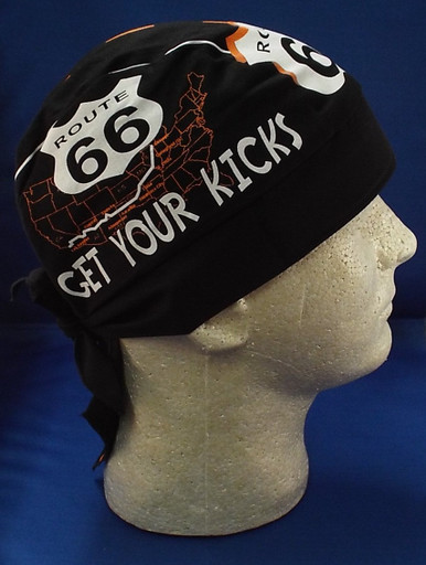 side of Route 66 Road Skull Cap