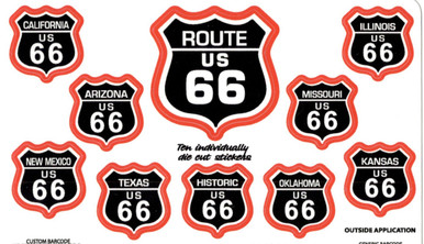 Route 66 10 Sticker Set in Black