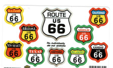10 Route 66 Sticker Set- Multicolor