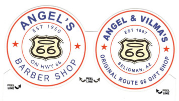 Angel's Barber Shop and Angel & Vilma's Gift Shop Sticker Set