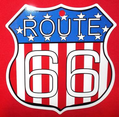 Small Metal Patriotic Route 66 Shield