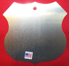back of Small Metal 8 States Route 66 Shield