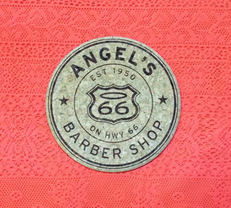 top of Angel's Barber Shop made in the USA cork coaster