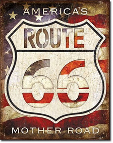 America's Mother Road Tin Sign Made in the USA