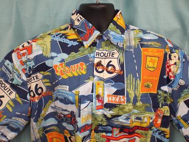 Route 66 Landmarks Aloha-Style Shirt (Close-up)