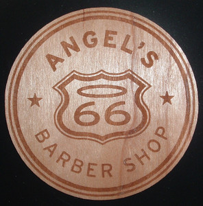 Angel's Barber Shop Wood Sticker