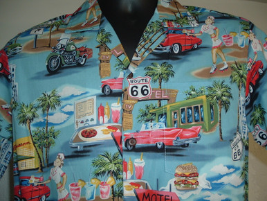 Blue Hawaii Route 66 Shirt Close-Up