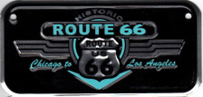 Mini Route 66 Retro Black & Turquoise License Plate