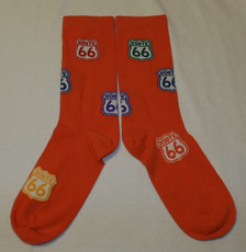 Orange Multicolor Route 66 Shield Socks (Made in USA)
