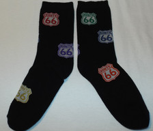 Black Multicolor Route 66 Shield Socks (Made in USA)
