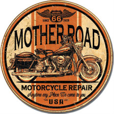 Route 66 Mother Road Motorcycle Repair Round Tin Sign Art