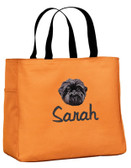 Personalized Affenpinscher Tote Bag Tote shown with font REBECCA