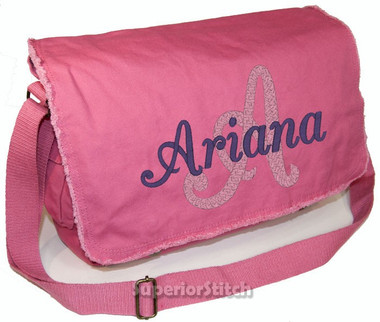 Personalized Name and Initial Diaper Bag Font shown on diaper bag is BRIDAL PATH