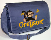 Personalized Applique Baby Monkey Diaper Bag Font shown on diaper bag is BOOKWORM