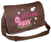 Personalized Applique Caterpillar Diaper Bag Font shown on diaper bag is BRIDAL PATH