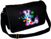 Personalized Applique Circus Letter Diaper Bag Font used for name shown on diaper bag is APPLE BUTTER