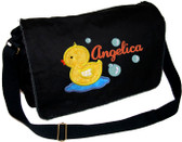 Personalized Applique Lil Ducky Diaper Bag Font used for name shown on diaper bag is LAVERNE