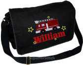 Personalized Applique Firetruck Diaper Bag Font used for name shown on diaper bag is BANQUET