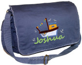 Personalized Applique Fishing Boat Diaper Bag Font used for name shown on diaper bag is SEAGULL SCRIPT