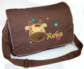 Personalized Applique Giraffe Head Diaper Bag Font used for name shown on diaper bag is ALPINE