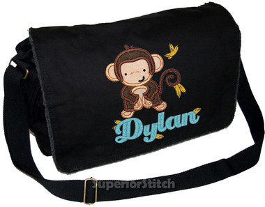 Personalized Applique MONKEY Diaper Bag Font used for name shown on diaper bag is ECLAIR