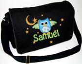 Personalized Applique Owl Diaper Bag Font shown on diaper bag is HOBO