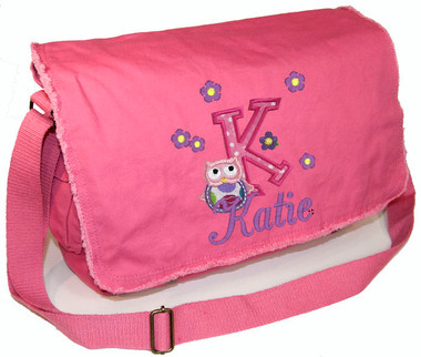Personalized Applique Owl Letter Diaper Bag Font used for name shown on diaper bag is BRIDAL PATH Font choice does not affect owl letter