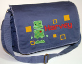 Personalized Applique Robot Diaper Bag Font used for name shown on diaper bag is HANZELA