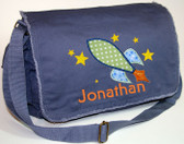 Personalized Applique Rocket Ship Diaper Bag Font used for name shown on diaper bag is STARSHIP