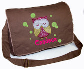 Personalized Applique Sleeping Owl Diaper Bag Font shown on diaper bag is SPLASH