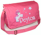 Personalized Applique Unicorn Diaper Bag Font used for name shown on diaper bag is IVORY TOWER