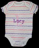 Personalized Baby Onesie - Flower Stripe Print - Size:3-6 months
