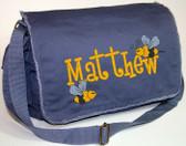 Personalized BUMBLEBEES Diaper Bag Font shown on diaper bag is BOYZ