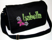 Personalized BUTTERFLY & DAISIES Diaper Bag Font shown on diaper bag is BOING
