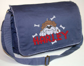 Personalized BULLDOG Diaper Bag Font shown on diaper bag is SUMMER CAMP